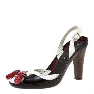 Celine Tri Color Tassel Leather Slingback Sandals Size 37.5 - used