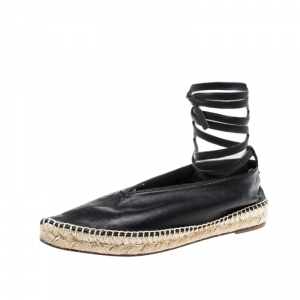 Celine Black Leather Pointed Toe Ankle Wrap Espadrilles Flats Size 37 - used