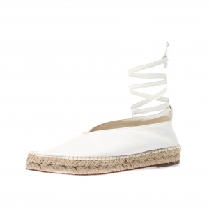Celine White Leather Babouche  Pointed Toe Espadrilles Size 37