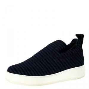 Celine Blue Knit Fabric Slip On Sneakers Size 36