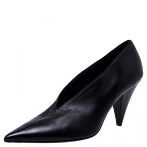 حذاء كعب عالي سيلين حرف V مقدمة مدببة جلد أسود مقاس 39.5