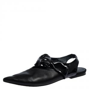Celine Black Leather Knot Pointed Toe Slingback Flat Sandals Size 39 - used