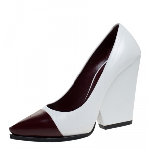Celine White/Burgundy Leather Pointed Toe Wedge Pumps Size 36