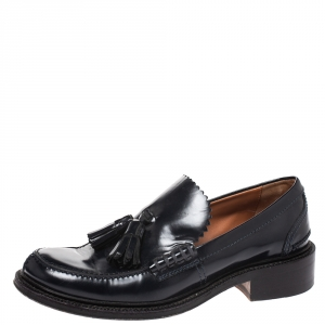 Celine Midnight Blue Patent Leather Tassel Loafers 36.5