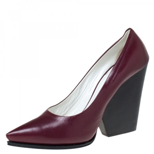 Celine Burgundy Leather Pointed Toe Wedge Pumps Size 41