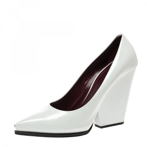 Celine White Leather Pointed Toe Wedge Pumps Size 41