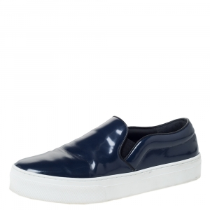Celine Blue Patent Leather Slip On Sneakers Size 36