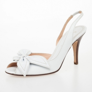 Celine White Leather Bow Peep Toe Slingback Sandals Size 40