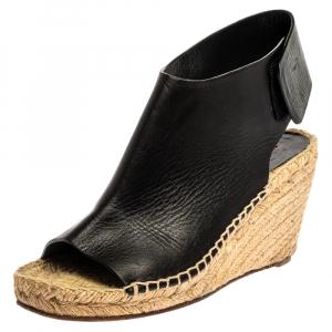 Celine Black Leather Open Toe Espadrilles Wedge Sandals Size 37 - used