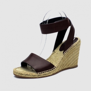 Celine Brown Leather Espadrilles Wedge Sandals Size 41