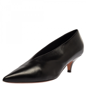 Celine Black Leather V Neck Pumps Size 37