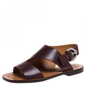 Celine Brown Leather Buckle Detail Flat Sandals Size 39