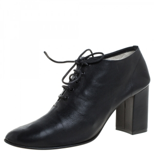Celine Black Leather Block Ankle Booties Size 39