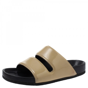 Celine Beige Patent Leather Flat Slide Sandals Size 37