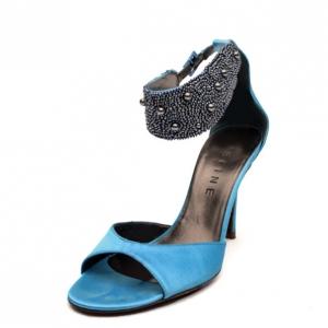 Celine Blue Satin Ankle Strap Embellished Sandals Size 37.5