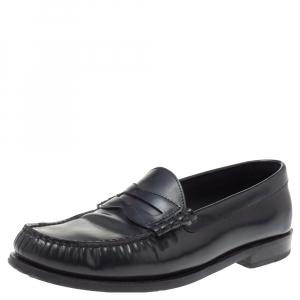 Celine Black Leather Penny Slip On Loafers Size 38.5