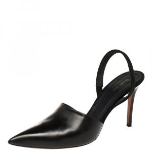 Celine Black Leather Pointed Toe Slingback Pumps Size 38