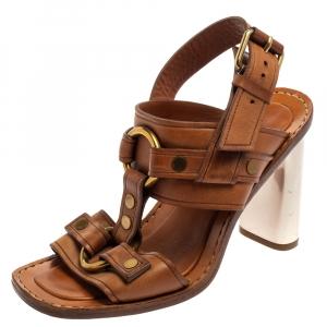 Celine Brown Leather Buckle Detail Square Toe Slingback Sandals Size 37