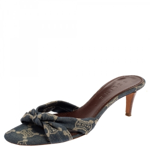 Celine Denim Fabric Knot Open Toe Slide Sandals Size 37.5