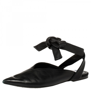 Celine Black Leather V Neck Pointed Ankle Wrap Mules Size 39 - used