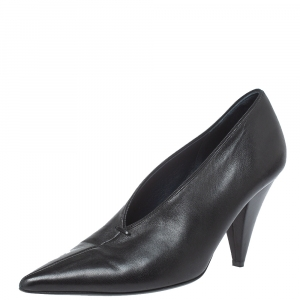 Celine Black Leather V Cut Pointed Toe Pumps Size 36.5