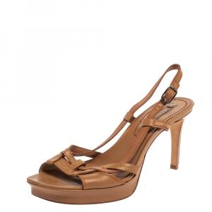 Celine Beige Leather Open Toe Slingback Sandals Size 38 - used