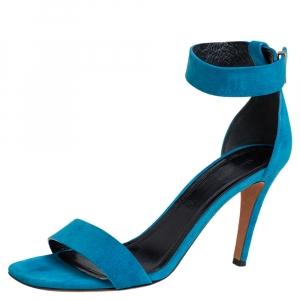 Celine teal Blue Suede Ankle-Strap Sandals Size 38 - used