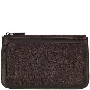 Celine Black Leather and Fur Pouch