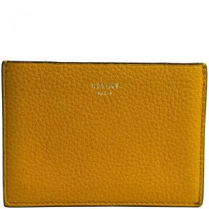 Celine Yellow Leather Gusset Card Holder