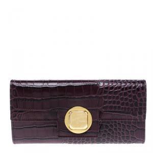 Cerruti 1881 Purple Croc Embossed Leather Cerrutis Flap Wallet