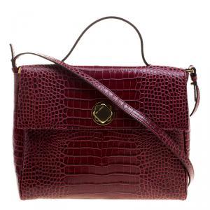 Cerruti 1881 Burgundy Croc Embossed Leather Cerrutis Top Handle Bag