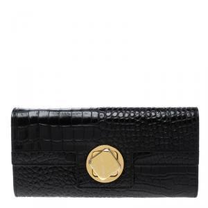 Cerruti 1881 Black Croc Embossed Leather Cerrutis Flap Wallet