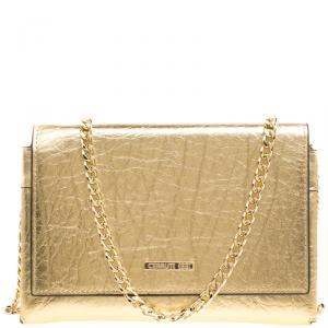 Cerruti 1881 Gold Leather Cerrutis Chain Clutch