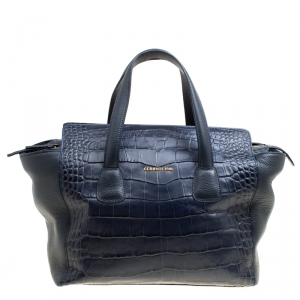 Cerruti 1881 Navy Blue Croc Embossed Leather Shopper Tote