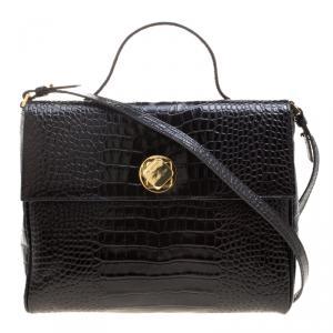Cerruti 1881 Black Croc Embossed Leather Cerrutis Top Handle Bag