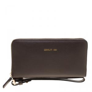 Cerruti 1881 Taupe Leather Cerrutic Zip Around Wristlet Wallet