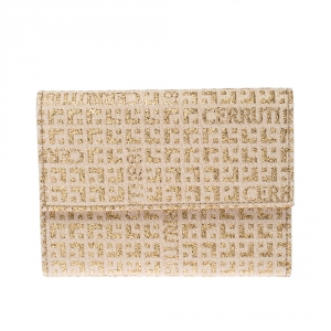 Cerruti Gold/Beige Signature Textured Fabric Fold Over Wallet