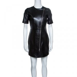Cesare Paciotti Black Dagger Zip Detail Short Sleeve Leather Dress S