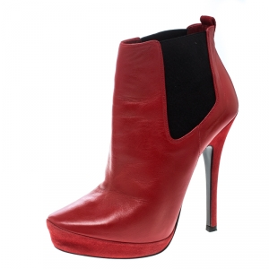 Cesare Paciotti Red Leather Platform Ankle Boots Size 37