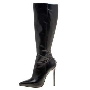 Cesare Paciotti Black Leather Dagger Detail Knee High Boots Size 40