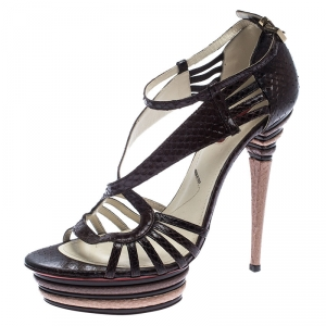 Cesare Paciotti Dark Brown Strappy Python Double Stacked Platform Sandals Size 38.5 - used