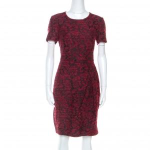 CH Carolina Herrera Red Wool Blend Jacquard Pleat Detail Dress M