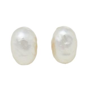 Carolina Herrera Pearl Gold Tone Stud Earrings