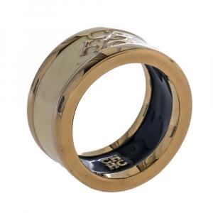 Carolina Herrera Cream Enamel Logo Gold Tone Band Ring Size EU 54.5