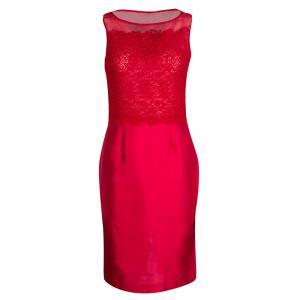 CH Carolina Herrera Red Lace and Organza Sleeveless Sheath Dress S - used