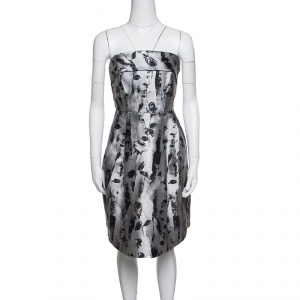 CH Carolina Herrera Silver and Black Floral Jacquard Strapless Dress S - used