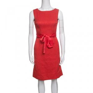CH Carolina Herrera Red Embossed Jacquard Belted Sleeveless Dress XS - used
