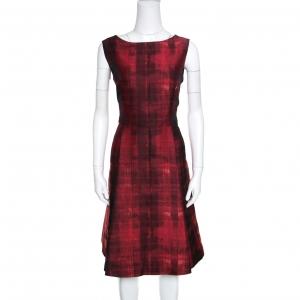 CH Carolina Herrera Red and Black Abstract Pattern Jacquard Sheath Dress L - used