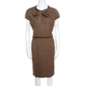 CH Carolina Herrera Brown Bow Detail Fringed Edge Cap Sleeve Dress XL - used