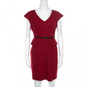 CH Carolina Herrera Red Wool Half Peplum V-Neck Dress L - used
